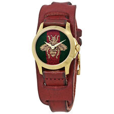 Gucci G-Timeless Green and Red Nylon Dial Ladies Cuff Leather Watch YA126546