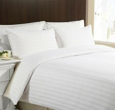 CLASSIC STRIPE 400 Thread Egyptian Cotton 12''  Deep Fitted Sheet White Double