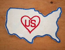 Vintage United States US Heart Outline Satin Embroidered Letterman Varsity Patch