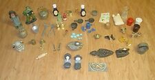 Vintage Dollhouse & Miniature Lot Cast Iron Brass Pans Knick Knacks Junk Drawer