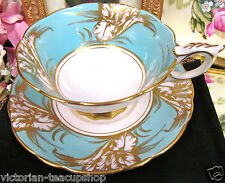 ROYAL STAFFORD  TEA CUP AND SAUCER BABY BLUE & GOLD ORCHID TEACUP PATTERN