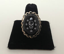 Black Skull n Stars adjustable Ring by Lucky Loo Loo. New