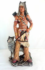 "17.5"" Inch Indian Warrior Indio Wolf North American Statue Figure Figurine"