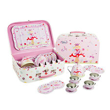Kids Girls Fairy Tin TEA SET & CARRY CASE Pretend Play Toy 14 Pieces LUCY LOCKET