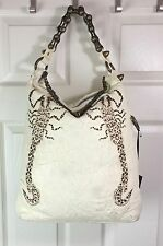 NWT Thomas Wylde Cream Lambskin Leather Brass Chain Scorpion Shoulder Hand Bag