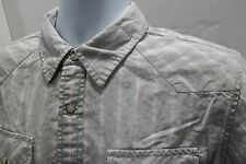 Tommy Hilfiger Denim Western Pearl Snap Shirt Size Medium (M) Gray Pink Stripes