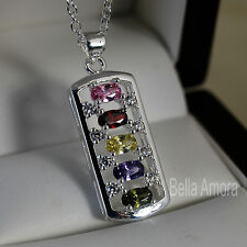 "925 Stamped Silver Pltd Multi Colour Crystal Bar Pendant 18"" Necklace Chain -105"