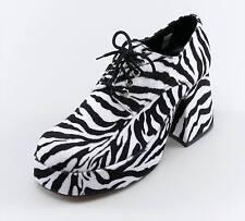 FANCY DRESS Platform Mens 1970's Zebra Shoes (UK Size 9-10)