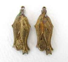 Vintage Brass Fish Charm Animal Pendant Aged Patina Metal Finding 32mm