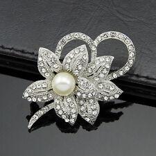 Hot Vintage Rhinestone Crystal Wedding Bridal Bouquet Flower Pearl Brooch Pins