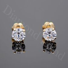 1 Ct Solid 14K Yellow Gold ScrewBack Round Brilliant Cut Solitaire Earrings Stud