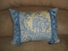 Waverly Accent Pillow Blue Yellow French Country Life Vintage Toile Tassel Trim