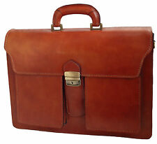 Made in Italy bag handbag man briefcase genuine leather laptop case tan 7001 US