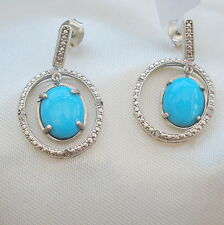 3.05ct Arizona Sleeping Beauty Turquoise & Diamond Hoop Drop Earrings