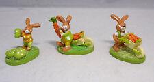 Ostern 3 verschieden Hasen Häschen Eier Schubkarre Möhren ca. 5x4cm NEU in Folie