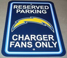 "NEW NFL 12""x18"" PLASTIC STYRENE RESERVED PARKING SIGN - SAN DIEGO CHARGERS"