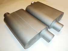 """NEW PERFORMANCE 2 CHAMBER MUFFLERS 40 SERIES PAIR 2.5"""" OFFSET IN/OUT ALUMINIZED"""