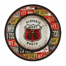"Estilo Vintage Antiguo Shabby Chic Reloj De Pared ""Route 66"" w7536"