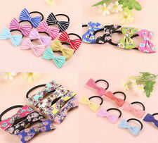 4pcs Lot Assorted Korean Elastic Hair Band Bow Tie Cute ponytail holder floral