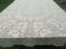 "Vintage Quaker Lace Table Cloth 64"" x 88"" Oblong Ecru Cream Beige TC35 V"