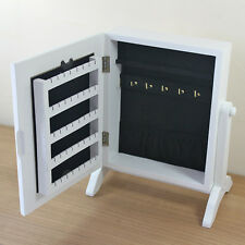 White 25cmH Jewellery Cupboard Cabinet Mirror Table Stand Organiser Storage Box