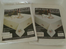 "Tablecloth & 4 Napkins Stamped For Embroidery Tobin Christmas Doves 50"" x 70"""