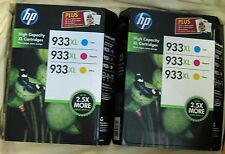 TWO (2) HP 933XL Color Ink Combo 3-Pack Cyan Magenta Yellow New OEM Genuine