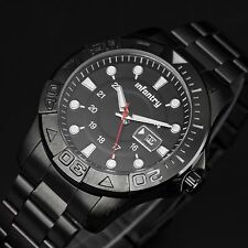 INFANTRY Mens Date Quartz Watch Nite Army Night Military Black Stainless Steel