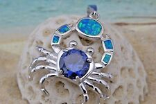 STERLING SILVER BLUE OPAL CRAB PENDANT WITH TANZINITE CZ