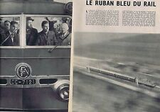 Coupure de presse Clipping 1954 Motrice CC-7121 le ruban bleu du rail  (4 pages)