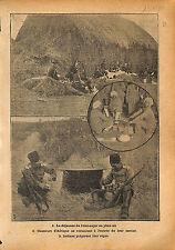 Cuisine Campagne Bivouac Chasseurs d'Afrique Etat-Major WWI 1914 ILLUSTRATION