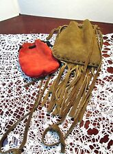 Vintage Large Suede Leather Fringed Pouch Bullet Tobacco Stash Red Marble Bag