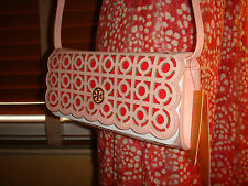 NWT TORY BURCH Kelsey SAFFIANO Cutout Leather PINK RED CLUTCH $350 DUSTBAG