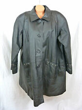 Veranesi Genuine Leather Long Coat Jacket Plus Size 24W Lined Black Trench Lined