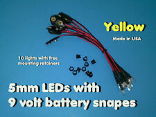 10 pcs 5mm YELLOW PRE WIRED LEDs 9 VOLT WATER CLEAR LED ON BATTERY SNAPS 9V CLIP