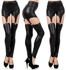 Ladies Womens Sexy Skin Stayup Black Pants Garters Stockings PVC Pantyhose