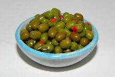 Dollhouse Green Olives Stuffed with Pimentos in a Painted Clay Bowl