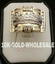 NEW MENS 10K YELLOW SOLID GOLD LAST SUPPER STYLE RING 3300
