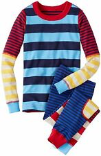 HANNA ANDERSSON Organic Long Johns Pajamas Mix Up Stripe Bright Multi 160 14 NWT