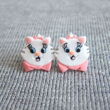 Arystocat Marie White Cute Cat Spring Easter Girls Outfit Gifts Earrings Jewelry