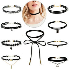 10Pcs/Set Women's Gothic Punk Velvet Tattoo Lace Choker Collar Pendant Necklace