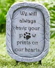 DOG MEMORIAL STAKE OUTDOOR GARDEN STATUE GRAVE MARKER PET REMBERANCE PAW PRINT