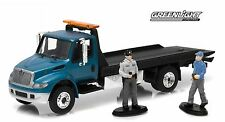 1:64 GreenLight *HD TRUCKS R2* TEAL INTERNATIONAL Durastar ROLLBACK Flatbed TOW
