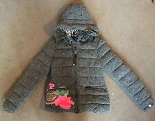 Desigual Designer Grey Wool Padded Hooded Jacket Size