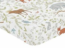 Fitted Crib Sheet for Woodland Toile Baby/Toddler Girl or Boy Bedding Set -