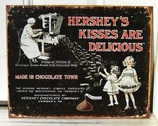 Hershey's Kisses Are Delicious TIN SIGN vtg candy advertising metal poster 1769