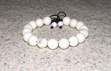 White HOWLITE BRACELET shamballa inspired Made in USA Meaningful Adjustable Yoga