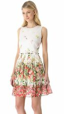 RED VALENTINO STRAWBERRY FIELD ORGANZA DRESS $795 IN SIZE 42 US 6