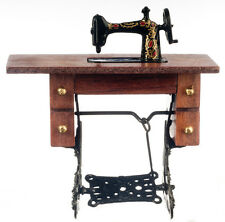 Dollhouse Miniature Walnut Vintage Sewing Machine Doll House Furniture