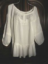 NEW VINTAGE AMERICA ~IVORY~ Lace & Embroidery ~Dressy Peasant Top Blouse ~XL